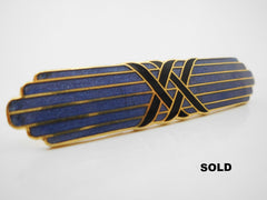 Purple Gold tone Black Cloisonne Enamel  Brooch