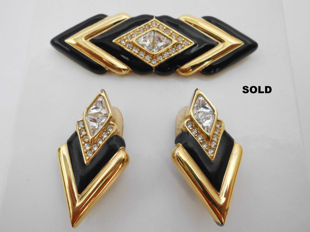 SWAROVSKI Crystal Rhinestones Black Enamel & Gold tone Brooch and Earrings