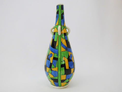 Polychrome Modernist Decor D873 with geometric patterns. Hand Painted Vase, Design by Charles Catteau  BOCH Frères La Louvière Belgium 1924. He used Form n° 727 already created  in 1903 by Boch Frères Keramis.
