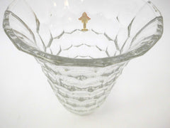 "Clear Vase Demi Crystal Glass Model ""ECAILLES"" with Spa Pierrot Logo. Luxval Collection VAL SAINT LAMBERT Belgium 1935."