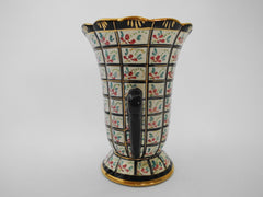 Hand Painted Vase made by Hubert Bequet, Faïencerie Bequet Quaregnon Belgium, 1940s.