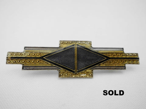 Purple & Gold Tone Enamel Brooch