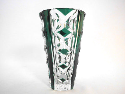 Beautiful signed Val Saint Lambert Circular Crystal Vase.  Emerald Green, hand-cut-to-clear. Mid-Century 1950s Belgium.