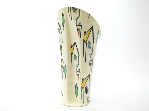 Beswick Pottery   Vase  Houses decor Hand Painted ALBERT HALLAM 1950s