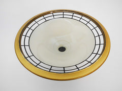 Frosted Glass Pedestal Bowl with Black bands and Gold accents