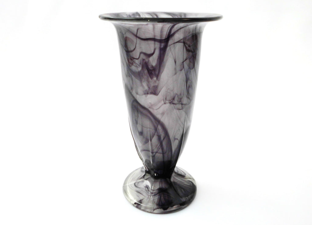 Art Deco Vase in Purple Cloud Pressed Glass, Polished outside, matt inside. 1920s  George Davidson & Co, England.