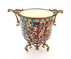"Ceramic Jardinière/Centerpiece Emaux de Longwy France end of 19th Century. Typical ""Cloisonné"" Flower decor combined with a decoration in ""Bleu de Sèvres"". Mounted on a bronze support."