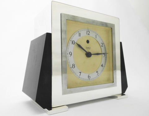 TEMCO  Art Deco Electric Mantel Clock  Plated Silver and black Bakelite. 200-250 Volt 50 Cycles.