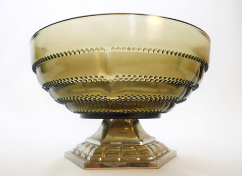 Art Deco Centerpiece/Bowl in Olive green pressed Glass on a Silver Plated Metal Pedestal. Created by Orfèvrerie Dilecta France late 1920s.