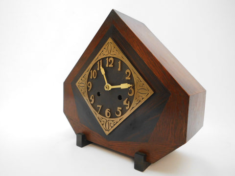 "Amsterdamse School  ca.1920  Wooden Mantel Clock with Pendulum   30 cm 11.8"" high and wide"