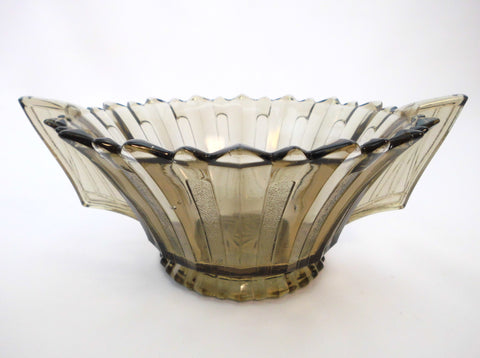 Rare Amber-Colored Pressed Glass Centerpiece/Bowl.  Verrerie de Scailmont, Manage Belgium 1930s