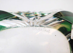 Crystal Glass Trinket Dish (Vide-Poche). Emerald Green, hand-cut-to-clear.  Val St. Lambert Belgium 1950s.