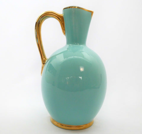 Large Pitcher BOCH La Louvière Belgium Pastel Blue with Gold-tone decor D5102 ca.1938. The form F89/3 was created by BOCH Frères Keramis between 1842 and 1850.