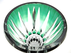"Exquisite Crystal Vase model ""EPRAVE"" Val St. Lambert.  Emerald & Dark Green, hand-cut-to-clear.  Belgium 1968."
