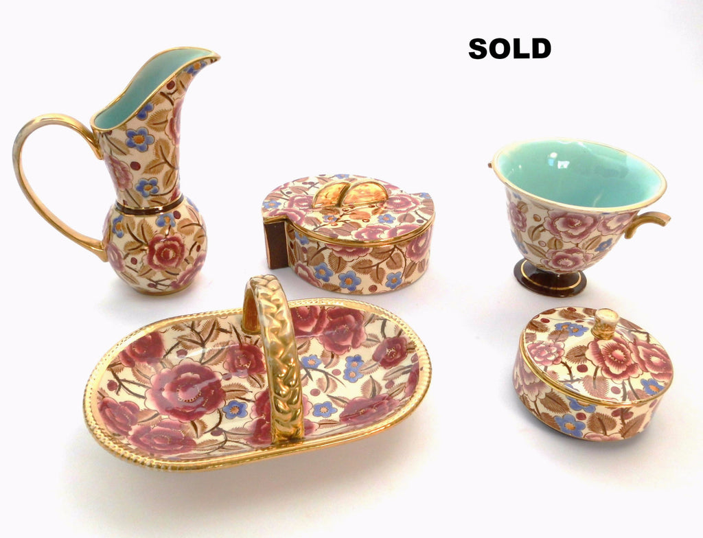 Ceramic Vanity Table Set, Five Pieces. Beautiful Flower D(ecor) 2940 & Gold Color Decoration with slight Wear. BOCH Frères  La Louvière Belgium  1940s.