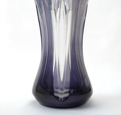 Overwhelming and Elegant Val St. Lambert Crystal Vase in a rare Amethyst color, hand-cut-to-clear, Belgium 1950s.
