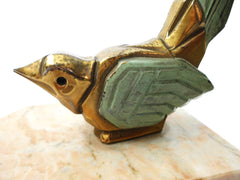 Very Rare stylized Bird on a Marble Base. Two Bookends created by Hippolyte Francois Moreau (1832-1927). Early Art Deco Period around 1910. Signed.