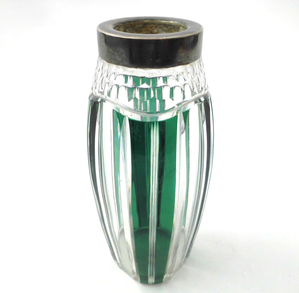 Small Crystal Vase with Plated Silver Collar. Val St. Lambert Belgium 1950s.  Emerald Green, hand-cut-to-clear.