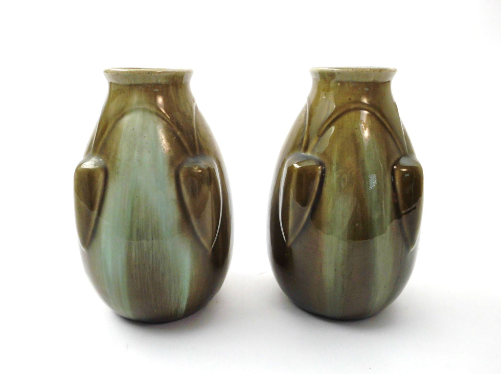 "Lovely couple of 2 Art Deco Vases ""Faïenceries de Thulin"" Model 27 Belgium 1920s. Color Drip Glaze Technique with Shades of olive green and green blue."