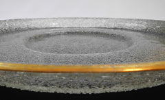 "Centerpiece in ""Crackled glass"" with golden accent border. Belgium, early 20th Century. Probably originates from the city of Liège, famous for its Glass & Crystal Crafts."