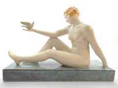 "Rare Ceramic Sculpture in Craquelé of ISADORA DUNCAN, ""Mother of the Modern Dance"". Etienne Forestier 1920s France."