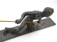 Art Deco Sculpture Hunter with Spear on a black&white Marble Base by Jean de Roncourt France 1920s. Beautiful fine detailed figure in Spelter with a verdigris patina.