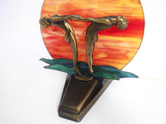 Decorative Art Deco Style White Metal Casting bronze Display. Orange, green & yellow Hand Made Stained Glass. Backlighted.