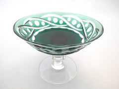 Crystal Centerpiece with Coupe in Emerald Green, hand-cut-to-clear on a transparent Pedestal. Created by Hubert Lega, Val St Lambert Belgium 1960s.