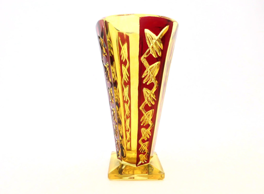 "H.Markhbeinn Paris Vase in Pressed Glass Topaze colour & Ruby Red transparent email. Beautiful geometrical Art Deco/Modernist design. The model named ""POMPEI"" was listed in the 1932 Markhbeinn Catalogue."