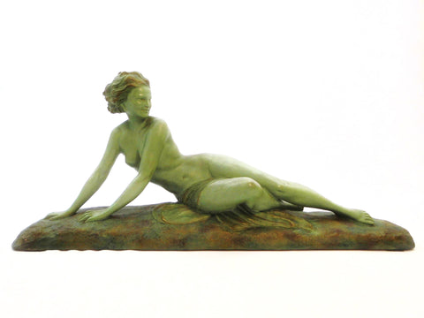 Beautiful and Large size Green patinated Terracotta Sculpture of a reclining nude by Ugo Cipriani Italy 1920s.