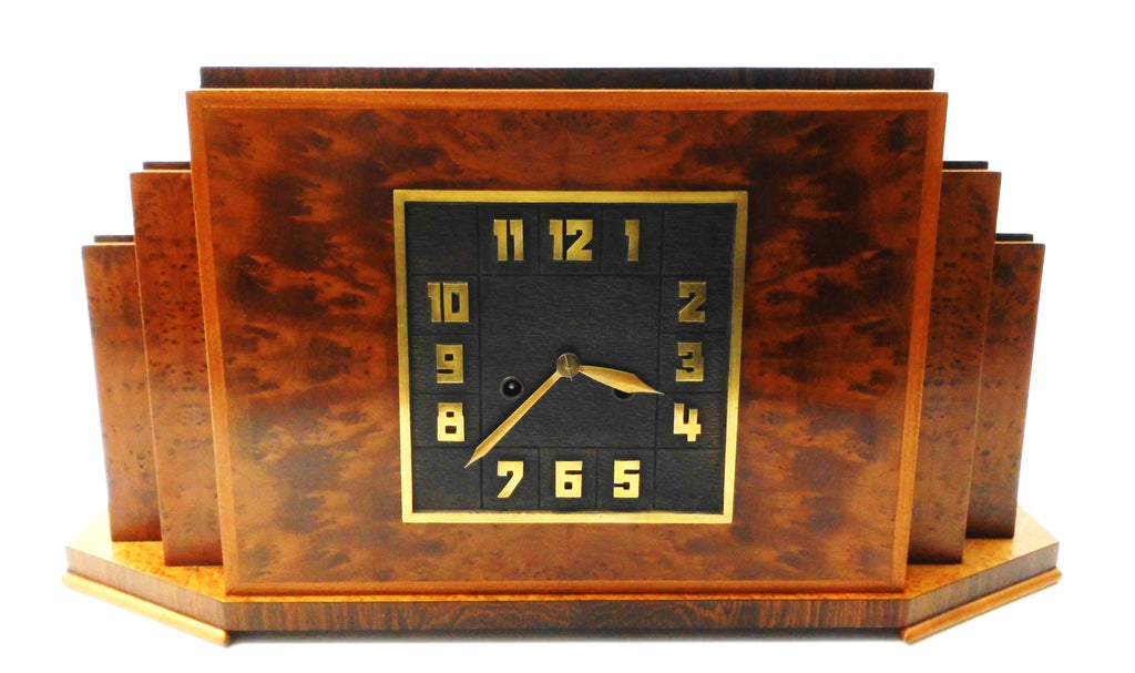 "Huge Mantel Clock in ""érable moucheté"" & Coromandel wood veneer. ""Haagse School"" Design Holland 1920s-1930s. Eight-day clock movement with Chime."
