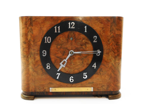 "Mauthe ""Synchron Schlagwerk"" Mantel Clock, Germany 1925. 220 Volt 50 Cycles Electrical powered movement with Chime. Case in Palissander Veneer. Clock in very good working condition."