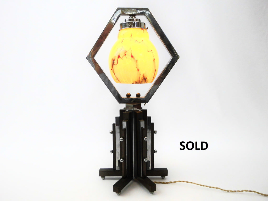 "Rare Dutch Art Deco Period Table Lamp 18""/ 46 cm high. Probably Amsterdamse School or Haagse School Design. E14 lamp fitting."