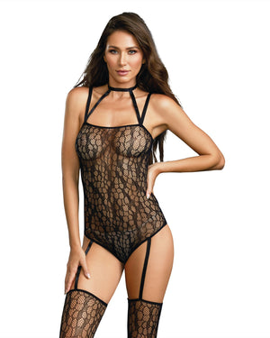 Dreamgirl One Size Snakeskin Inspi Fishnet Teddy Bodystocking