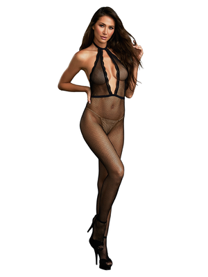 Dreamgirl One Size Fishnet Bodystocking with Plunging Halter Neckline