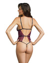 Dreamgirl One Size Plum Stretch Lace Teddy With Strappy Elastic Details