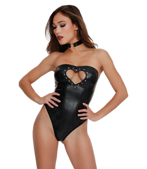 Dreamgirl One Size 2 Piece Stretch Faux Leather Strapless Teddy Set