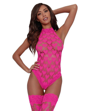Dreamgirl 2 Piece Heart Patterned Seamless Teddy Set