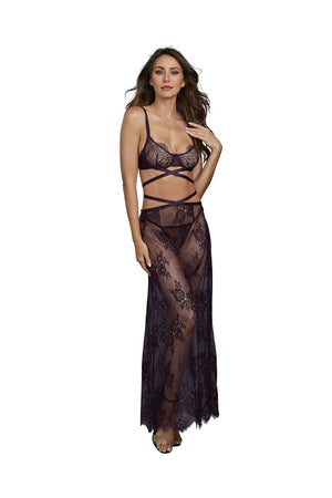 Dreamgirl Eggplant Lace Bra Skirt and G-String Set