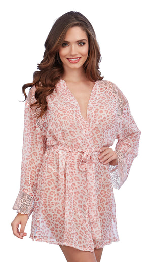 Dreamgirl Leopard Print Chiffon Robe with Set-In Belt