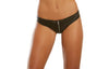 Dreamgirl Black Leather Look and Stretch Mesh Cheeky Panty