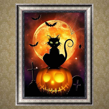 Cat Pumpkin Diamond Painting Kit