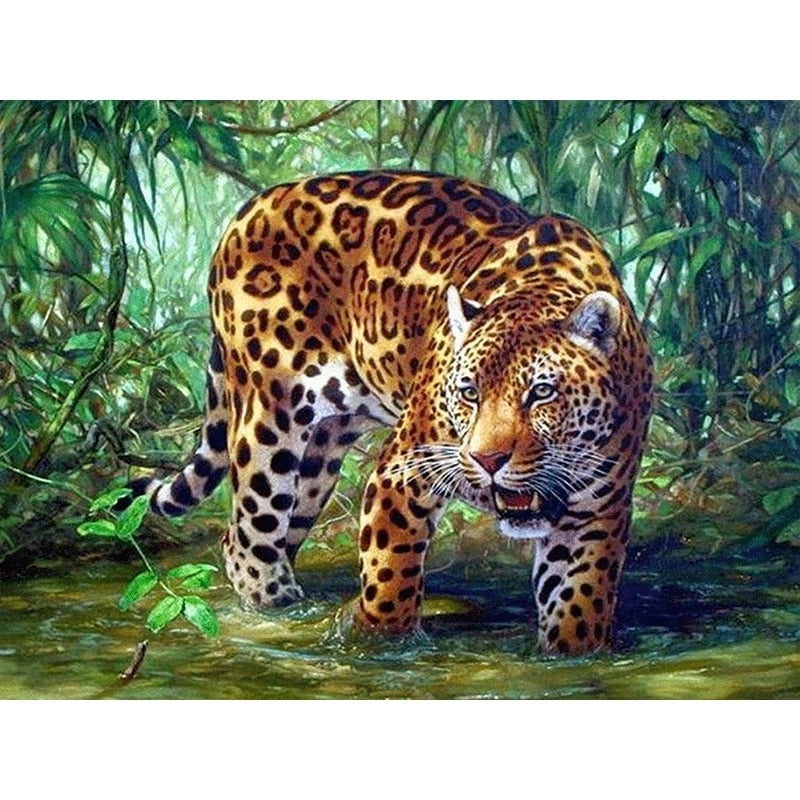 Leopard in the water Cross Stitch Set
