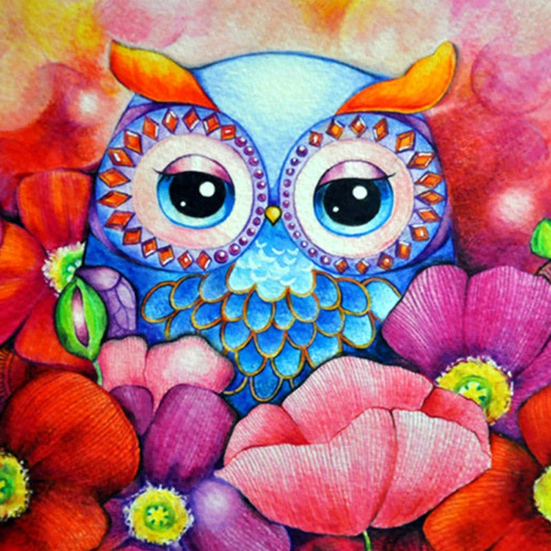 Owl Cartoon Diamond 5d Art