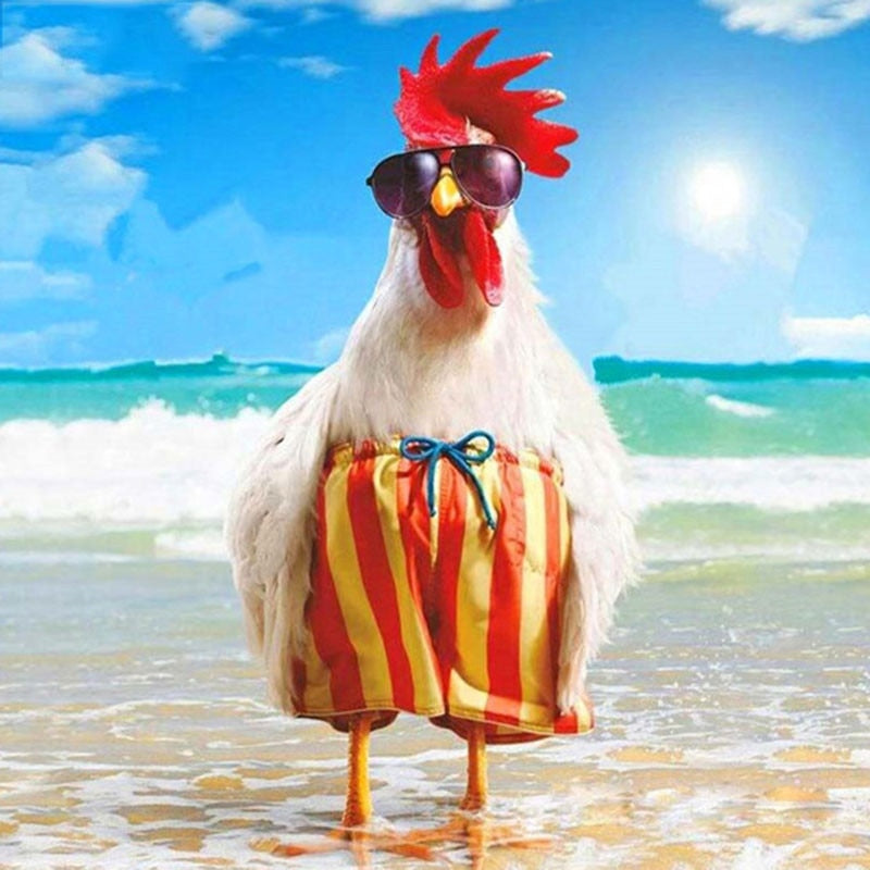 Beach holiday chicken Diamond Embroidery