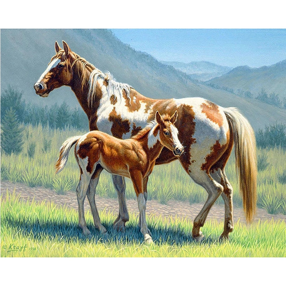 Cross Stitch Two horses animal