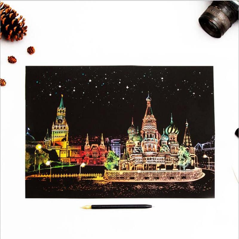 Painting City Night Landscape Handmade