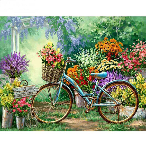 Cross Stitch bike in the flower