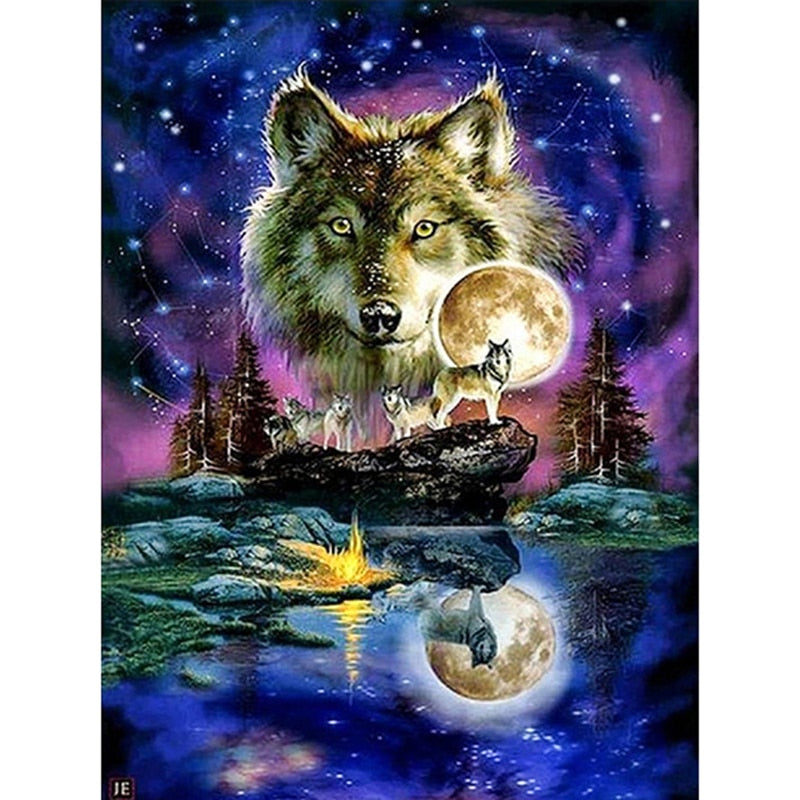 Night Wolf Pack Diamond Embroidery
