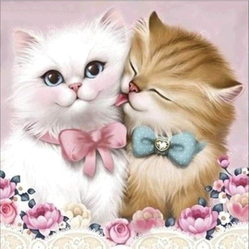 Diamond Cat Couple 5D